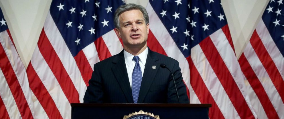 PHOTO: FBI Director is Christopher A. Wray speaks to the media during a news conference at FBI Headquarters, June 14, 2018, in Washington, DC.