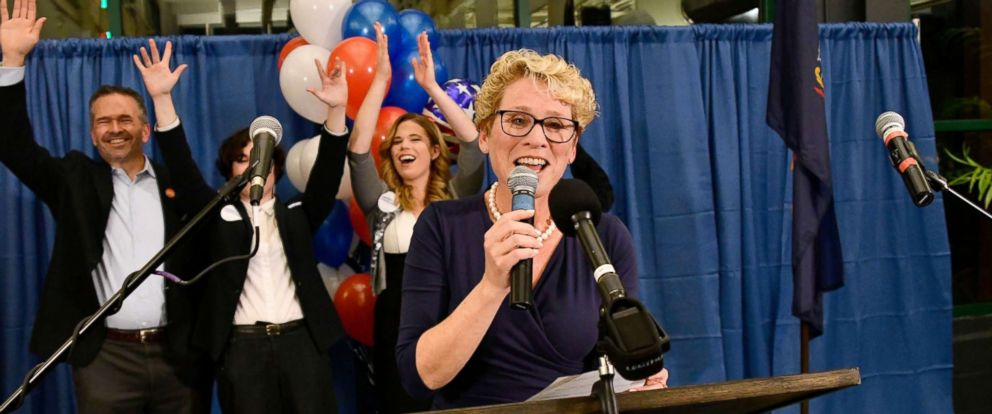 PHOTO: Democrat Chrissy Houlahan declares victory over Republican Greg McCauley at her election night headquarters during the 2018 mid-term general election in Phoenixville, Pennsylvania, Nov. 6, 2018.
