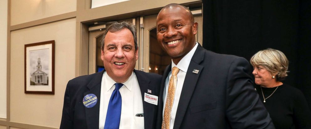 PHOTO: Candidate Eddie Edwards, right, Republican nominee for New Hampshires 1st Congressional District poses for a quick picture with former New Jersey Gov. Chris Christie at the NHGOP Rally For The Midterms event in Bedford, N.H., Oct. 30, 2018.