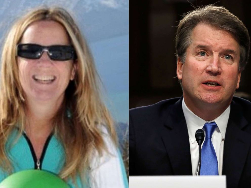 PHOTO: Professor Christine Blasey Ford is seen in an undated photo posted to ResearchGate and Supreme Court Justice nominee Brett Kavanaugh appears at a confirmation hearing in Washington, Sept. 5, 2018.