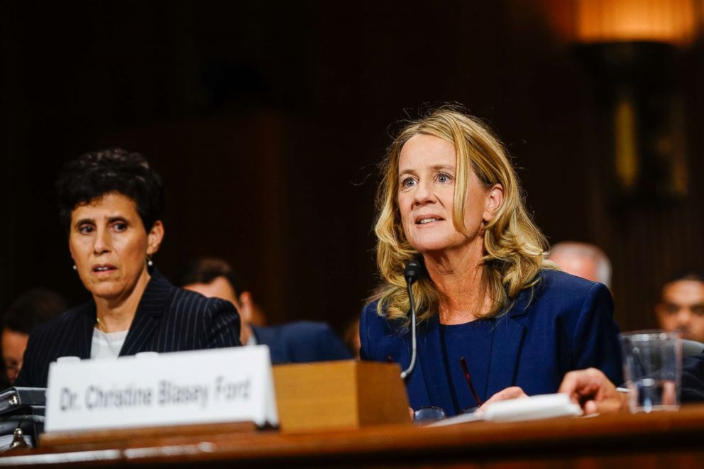 Christine Blasey Ford, with lawyer Debra S. Katz, left, answers questions at a Senate Judiciary Committee hearing, Sept. 27, 2018, on Capitol Hill.