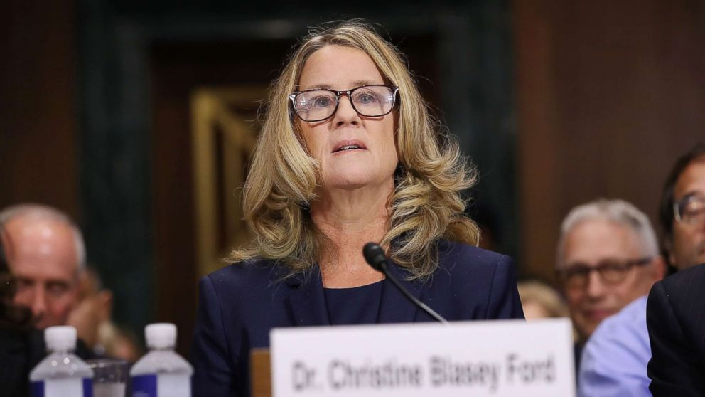 Christine Blasey Ford prepares to testify before the Senate Judiciary Committee in the Dirksen Senate Office Building on Capitol Hill, Sept. 27, 2018.