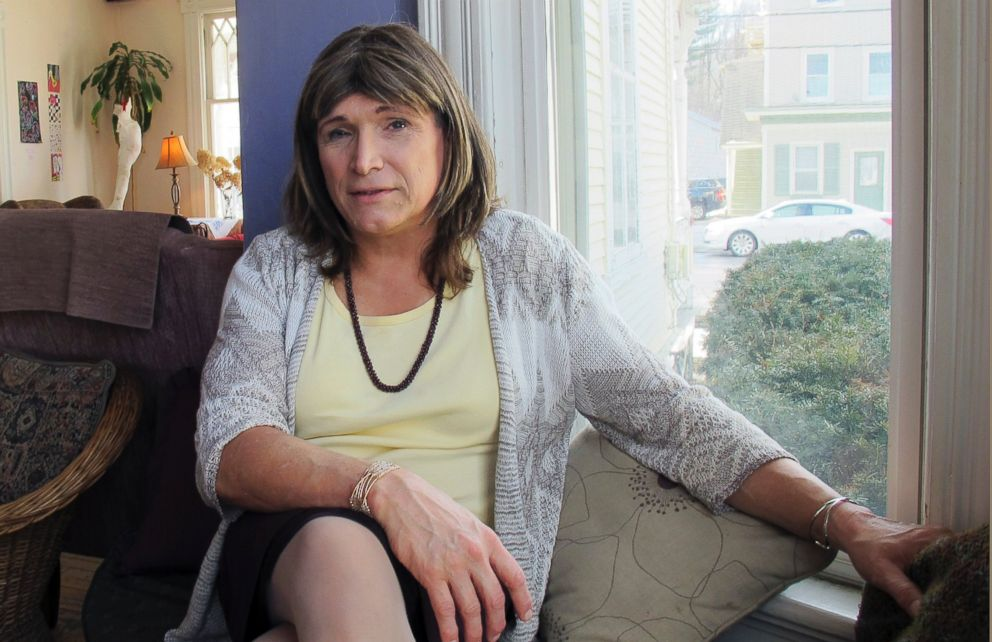 Christine Hallquist, a transgender utility executive seeking the Democratic nomination to run for governor of Vermont, talks about her candidacy, Feb. 21, 2018 in Johnson, Vt.