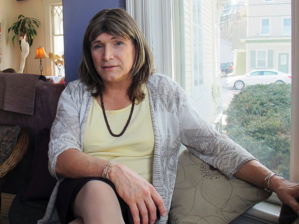 Christine Hallquist, a transgender utility executive seeking the Democratic nomination to run for governor of Vermont, talks about her candidacy on Wednesday Feb. 21, 2018 in Johnson, Vt.