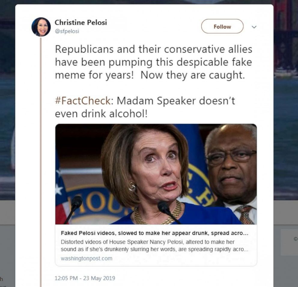 PHOTO: Screenshot from Christine Pelosis Twitter feed, May 24, 2019.