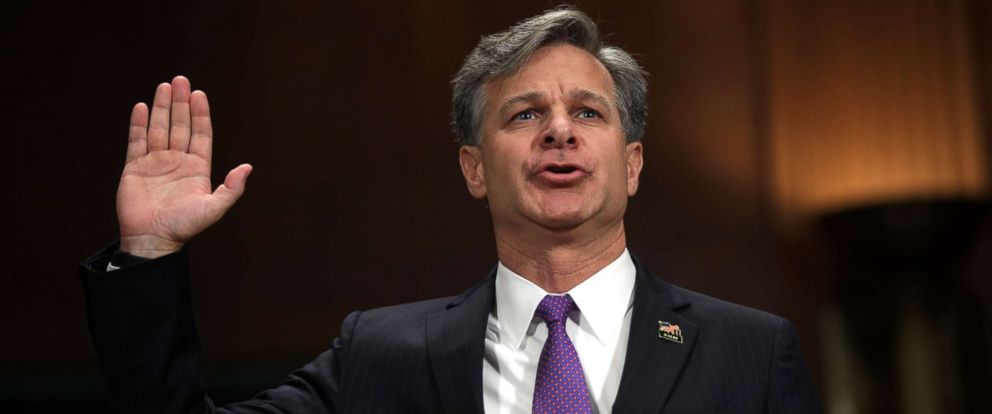 PHOTO: FBI director nominee Christopher Wray is sworn in during his confirmation hearing before the Senate Judiciary Committee July 12, 2017 on Capitol Hill in Washington.