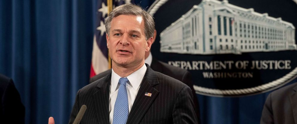 PHOTO: FBI Director Christopher Wray speaks at a press conference about Chinese hacking at the Justice Department in Washington, DC, Dec. 20, 2018.
