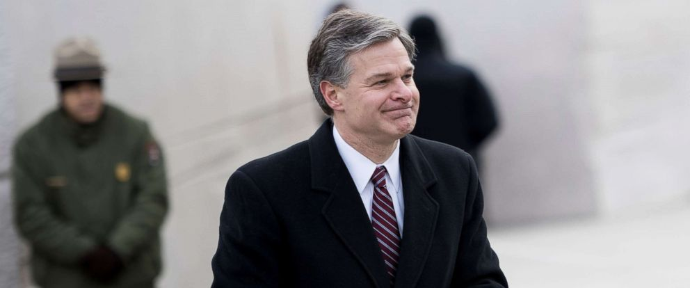 PHOTO: Director of the Federal Bureau of Investigation Christopher A. Wray speaks during an event at the Martin Luther King Memorial on the National Mall, Jan. 15, 2018, in Washington, DC.