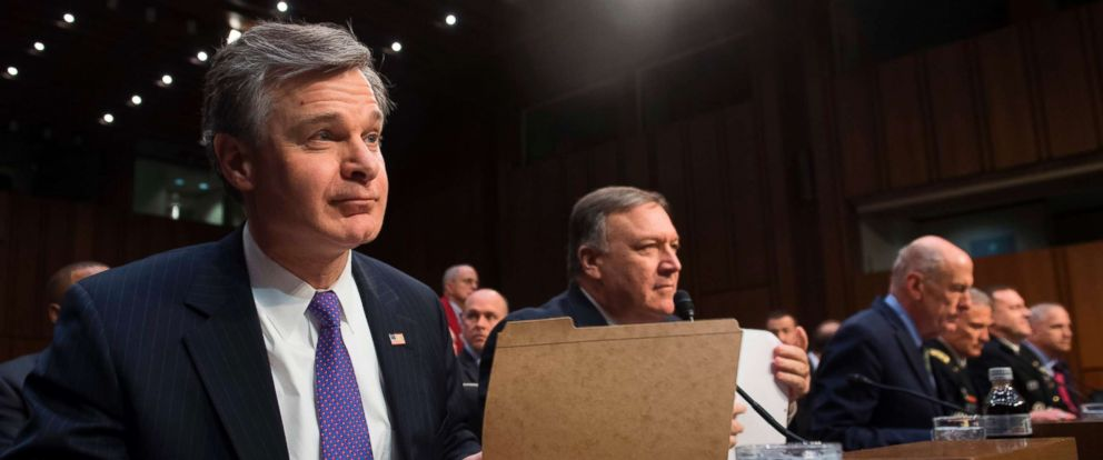 PHOTO: FBI Director Christopher Wray arrives to testify on worldwide threats during a Senate Intelligence Committee hearing on Capitol Hill, Feb. 13, 2018, in Washington.