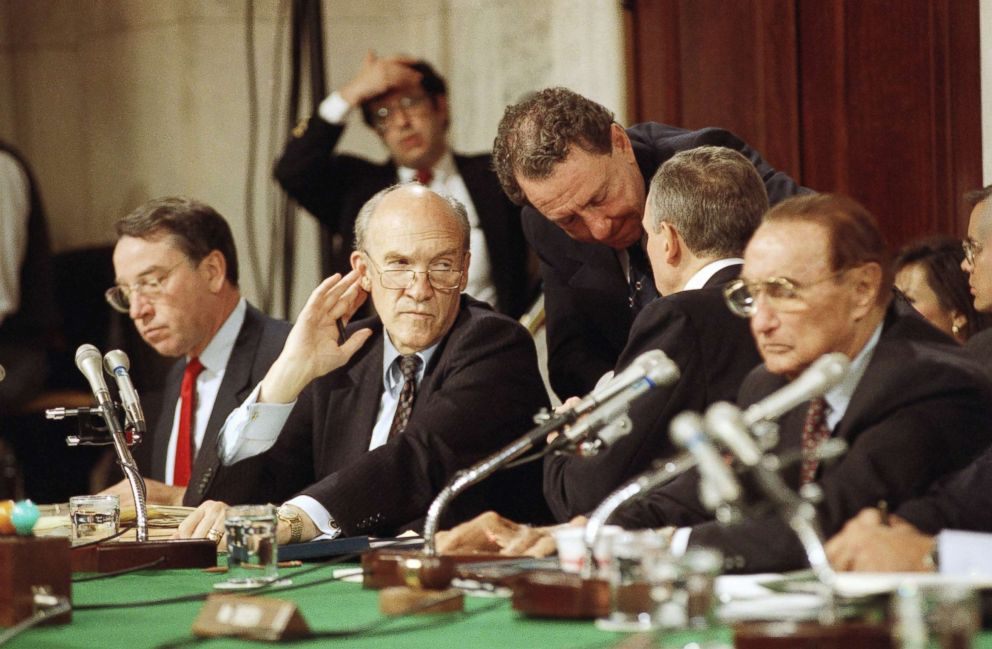 PHOTO: Charles Grassley, Alan Simpson, Arlen Specter, Orrin Hatch, and Strom Thurmond confer during hearings before the committee in Washington, Oct. 12, 1991 to investigate the allegations of sexual harassment by Clarence Thomas brought by Anita Hill.