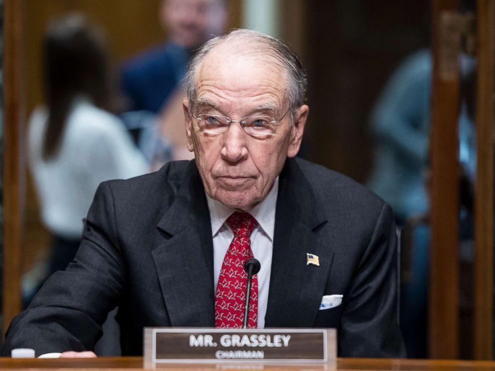 PHOTO: Chairman Sen. Chuck Grassley takes his seat at a Senate Finance Committee organizational meeting and hearing in Washington, Feb. 2, 2019.