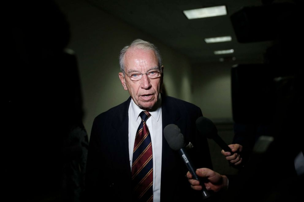 PHOTO: Sen. Chuck Grassley speaks with reporters about Supreme Court nominee Brett Kavanaugh on Capitol Hill, Sept. 18, 2018 in Washington, D.C.