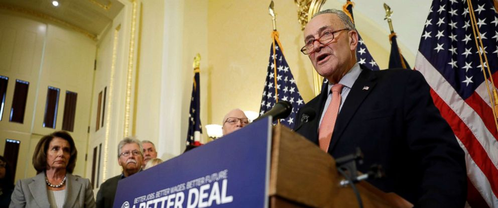 """PHOTO: Senate Minority Leader Chuck Schumer speaks at a news conference to unveil congressional Democrats """"A Better Deal"""" economic agenda on Capitol Hill in Washington, Nov. 1, 2017."""