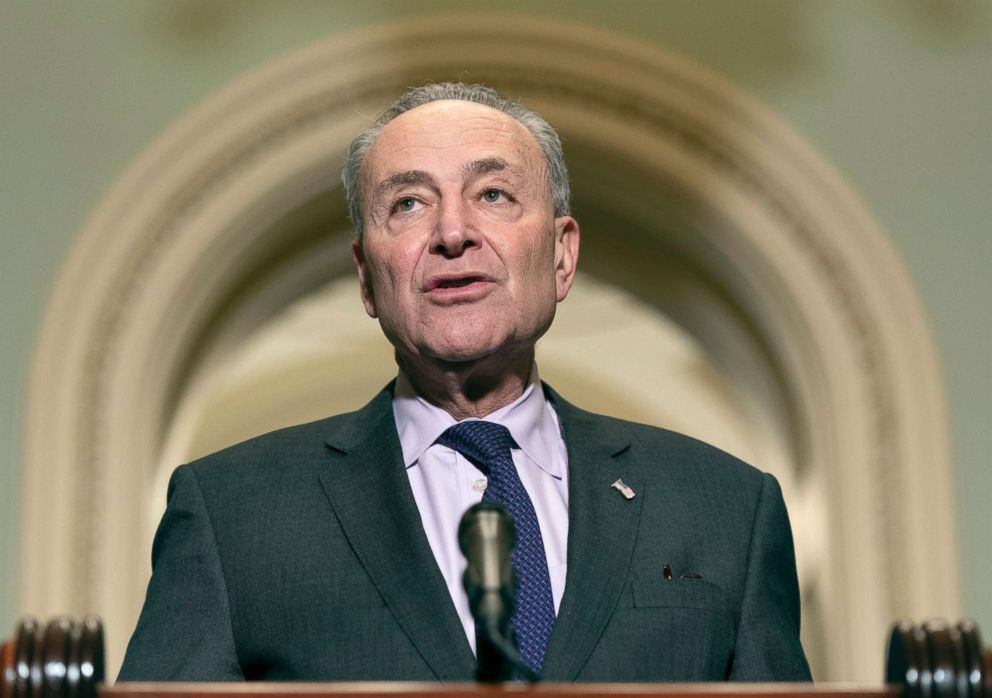 PHOTO: Chuck Schumer speaks to the media about the nomination of William Barr to be Attorney General, Jan. 16, 2019, on Capitol Hill in Washington, DC.