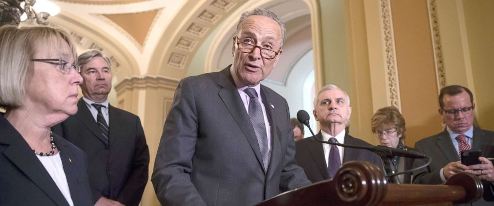 PHOTO: Chuck Schumer responds to an announcement by Majority Leader Mitch McConnell, that he intends to cancel the traditional August recess and keep the Senate in session to deal with backlogged tasks, on Capitol Hill in Washington, June 5, 2018.