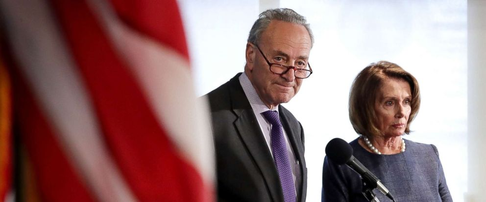 PHOTO: Senate Minority Leader Charles Schumer and House Minority Leader Nancy Pelosi speak at the National Press Club, Feb. 27, 2017 in Washington.