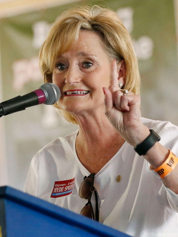 PHOTO: Sen. Cindy Hyde-Smith speaks at the Neshoba County Fair, Aug. 2, 2018, in Philadelphia, Miss.