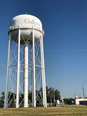 PHOTO: A water tower sits in the city of Gulfport on Mississippis Gulf Coast, Oct. 28, 2018.