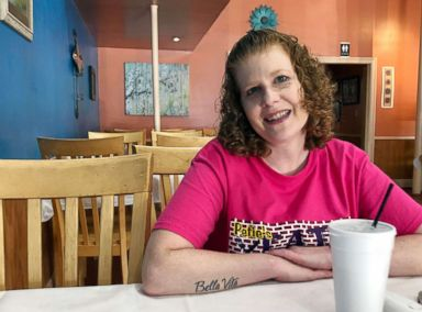 PHOTO: Elizabeth West, 42, a resident of Gulfport, Miss., sits inside local restaurant, Peties Eats Downtown, Oct. 28, 2018.