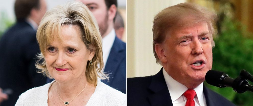 PHOTO: Sen. Cindy Hyde-Smith at the Capitol, June 14, 2018, and Donald Trump in Washington, Oct. 1, 2018.
