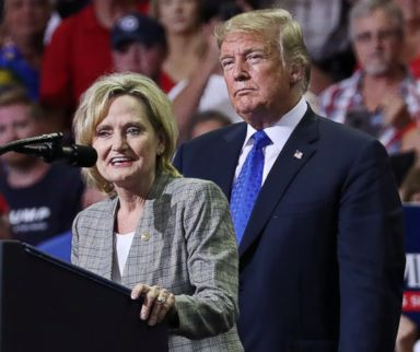 PHOTO: Senator Cindy Hyde-Smith joins President Donald Trump at a campaign rally in Southaven, Miss., Oct. 2, 2018.