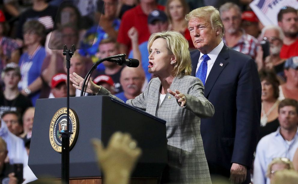 PHOTO: Senator Cindy Hyde-Smith joins President Donald Trump onstage at a campaign rally in Southaven, Miss., Oct. 2, 2018.