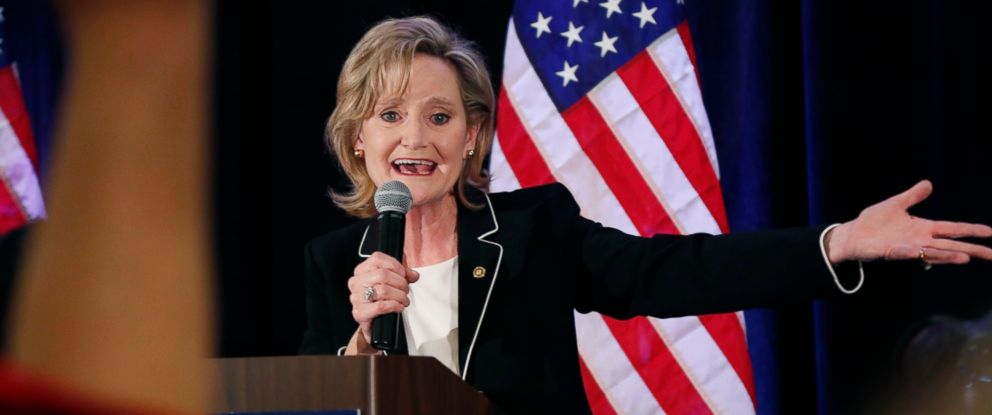 PHOTO: Republican U.S. Sen. Cindy Hyde-Smith calls on her family members to identify themselves as she celebrates her runoff win over Democrat Mike Espy in Jackson, Miss., Tuesday, Nov. 27, 2018.