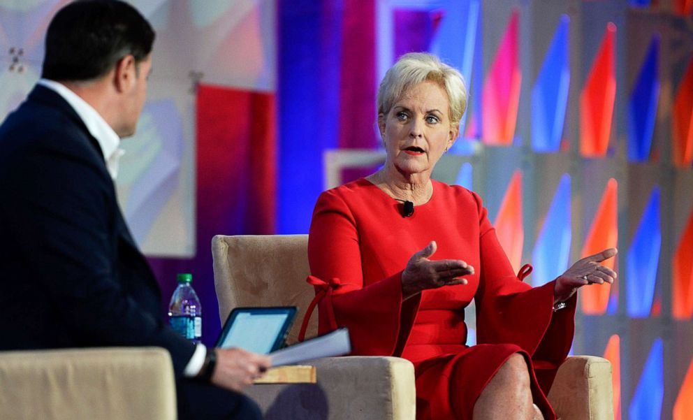 PHOTO: Cindy McCain talks during a session on combating human trafficking during the National Governors Association Summer Meeting in Salt Lake City, Thursday, July 25, 2019