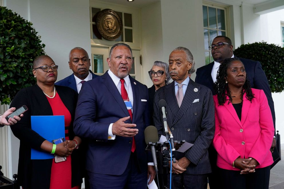 PHOTO: Marc Morial, center, president of the National Urban League, talks with reporters outside the West Wing of the White House in Washington, July 8, 2021, following a meeting with President Joe Biden and leadership of top civil rights organizations.