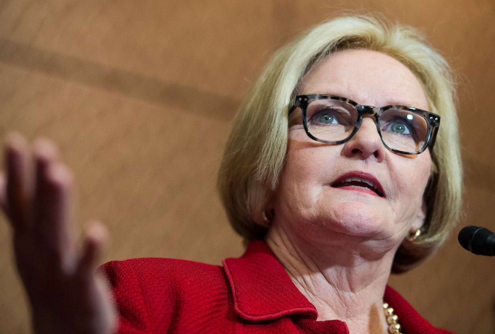 PHOTO: Sen. Claire McCaskill participates in the news conference with survivors of sexual assault to urge the Senate to pass the Campus Accountability and Safety Act, April 26, 2016.