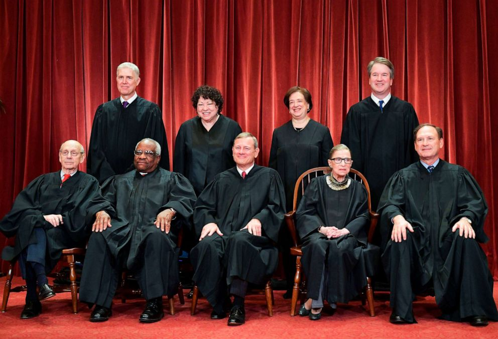 PHOTO: Justices of the US Supreme Court pose for their official photo at the Supreme Court in Washington, Nov. 30, 2018.