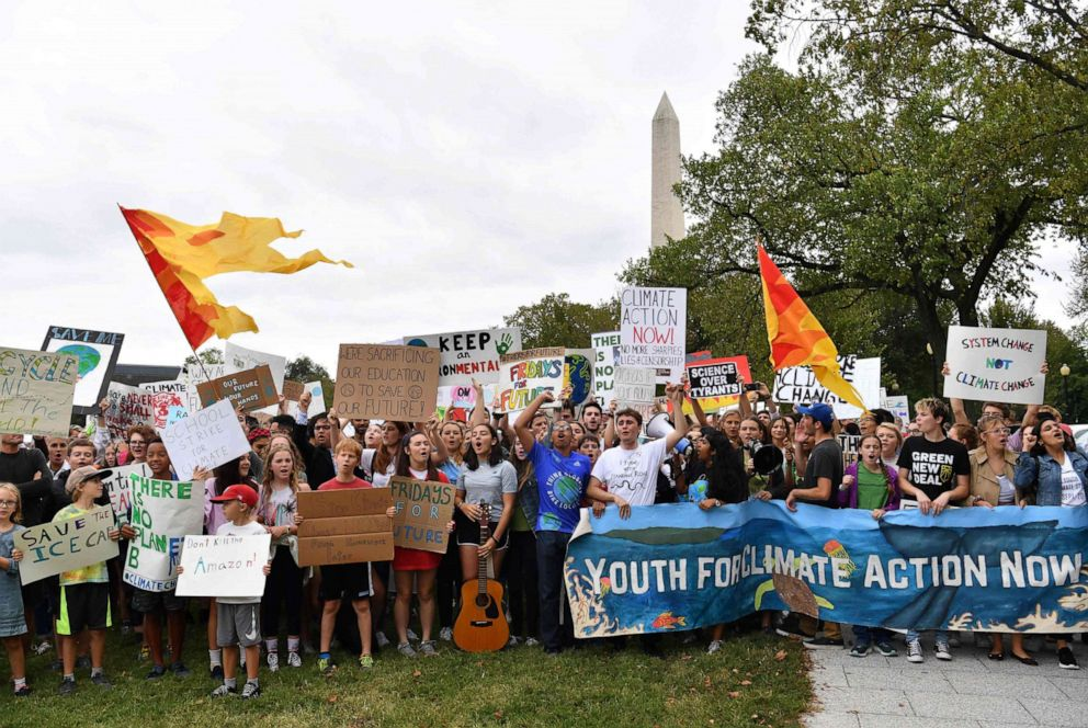 PHOTO: Teenagers and students take part in a climate protest outside the White House in Washington, D.C. on September 13, 2019.