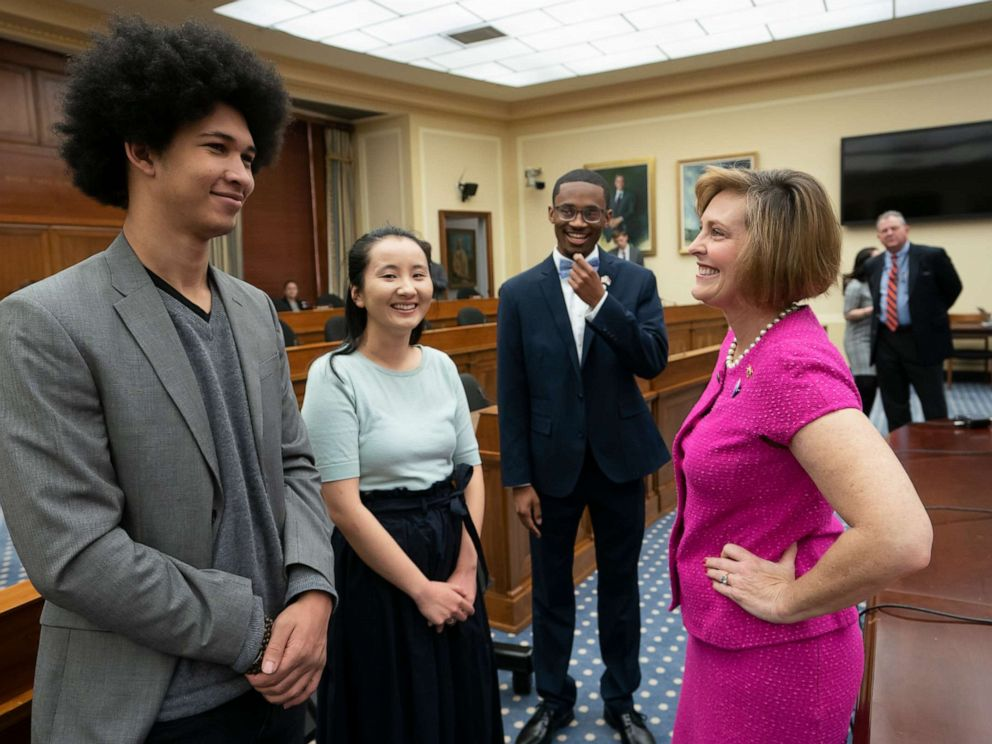 PHOTO: House Select Committee on the Climate Crisis Kathy Castor, right, welcomes, from left, Aji Piper, Young Evangelicals for Climate Action Co-Chair Melody Zhang, and Chris Suggs, on Capitol Hill in Washington, April 4, 2019.