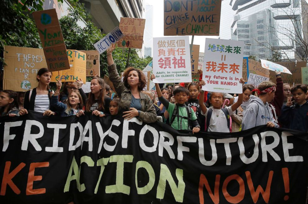 PHOTO: Hundreds of schoolchildren take part in a climate protest in Hong Kong, March 15, 2019. Students in more than 80 countries and territories skipped class in protest over their governments failure to act against global warming.