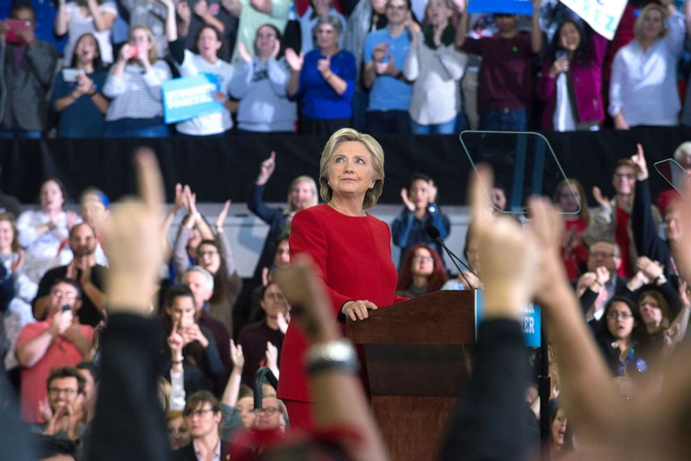 PHOTO: Democratic presidential nominee former Secretary of State Hillary Clinton speaks during a campaign rally, Nov. 8, 2016, in Raleigh, N.C.