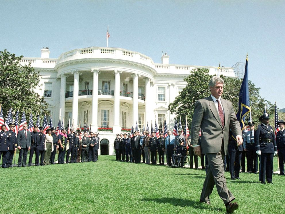 PHOTO: President Bill Clinton walks on the South Lawn of the White House, April 14, 1994, where he discussed his crime bill package with mayors and law enforcement officials.