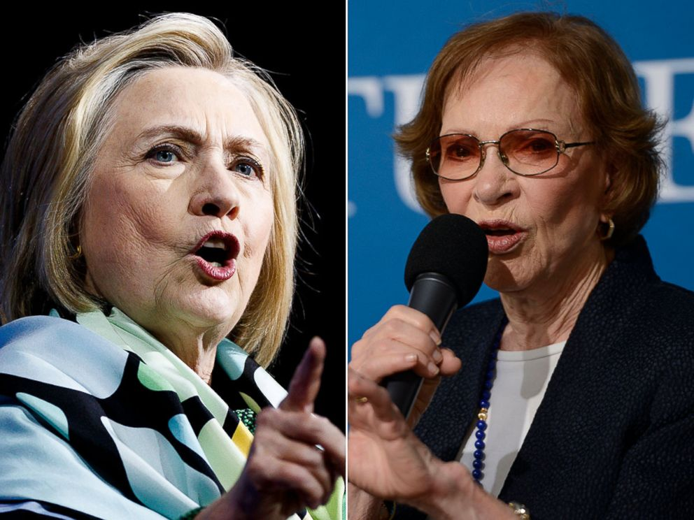 PHOTO: Hillary Clinton, left, and Rosalynn Carter