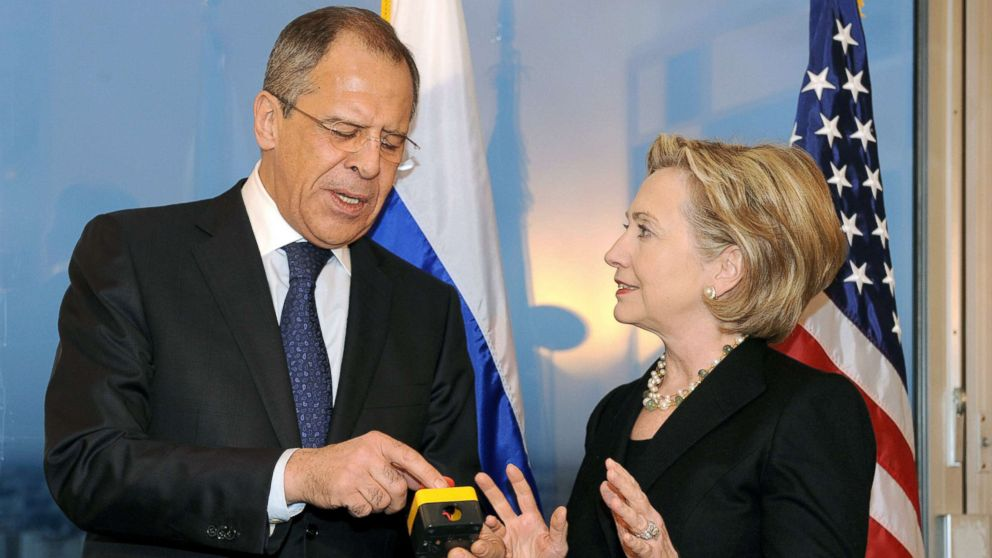 Secretary of State Hillary Clinton with Russian Foreign Minister Sergei Lavrov, after she gave him a device with red knob, during a meeting, March 6, 2009, in Geneva.