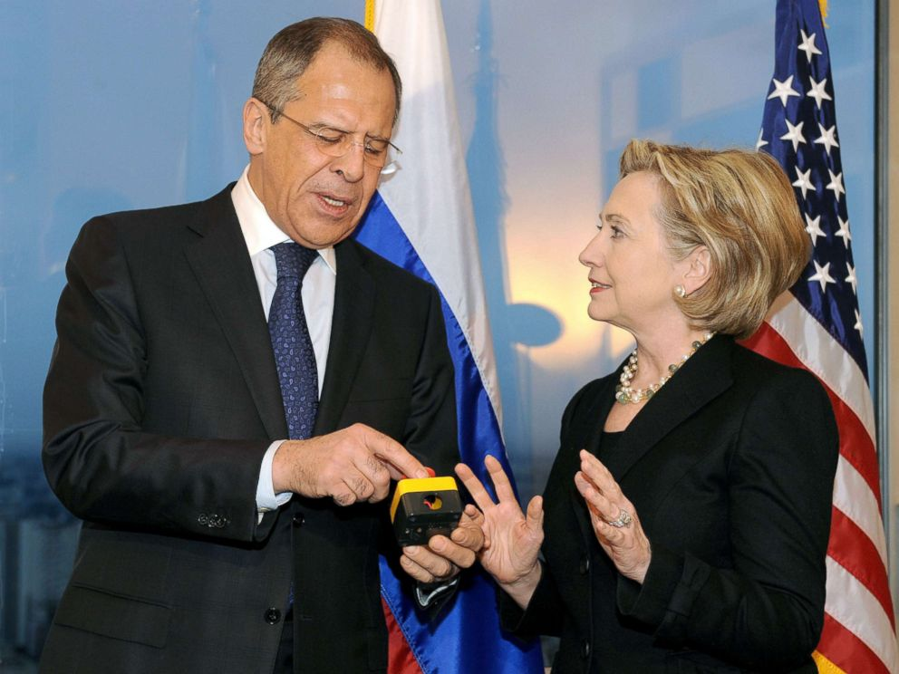 PHOTO: Secretary of State Hillary Clinton with Russian Foreign Minister Sergei Lavrov, after she gave him a device with red knob, during a meeting, March 6, 2009, in Geneva.