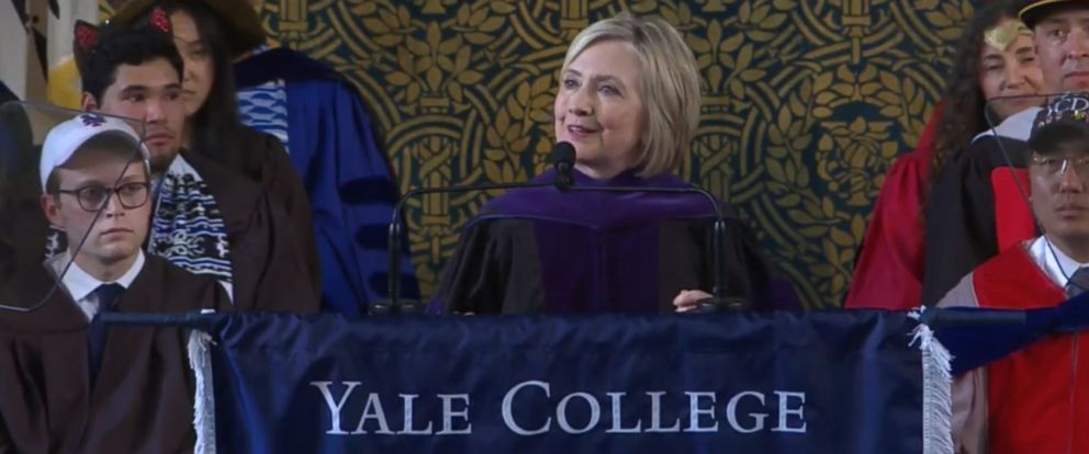 PHOTO: Hillary Clinton speaks at the Yale University commencement, May 20, 2018.