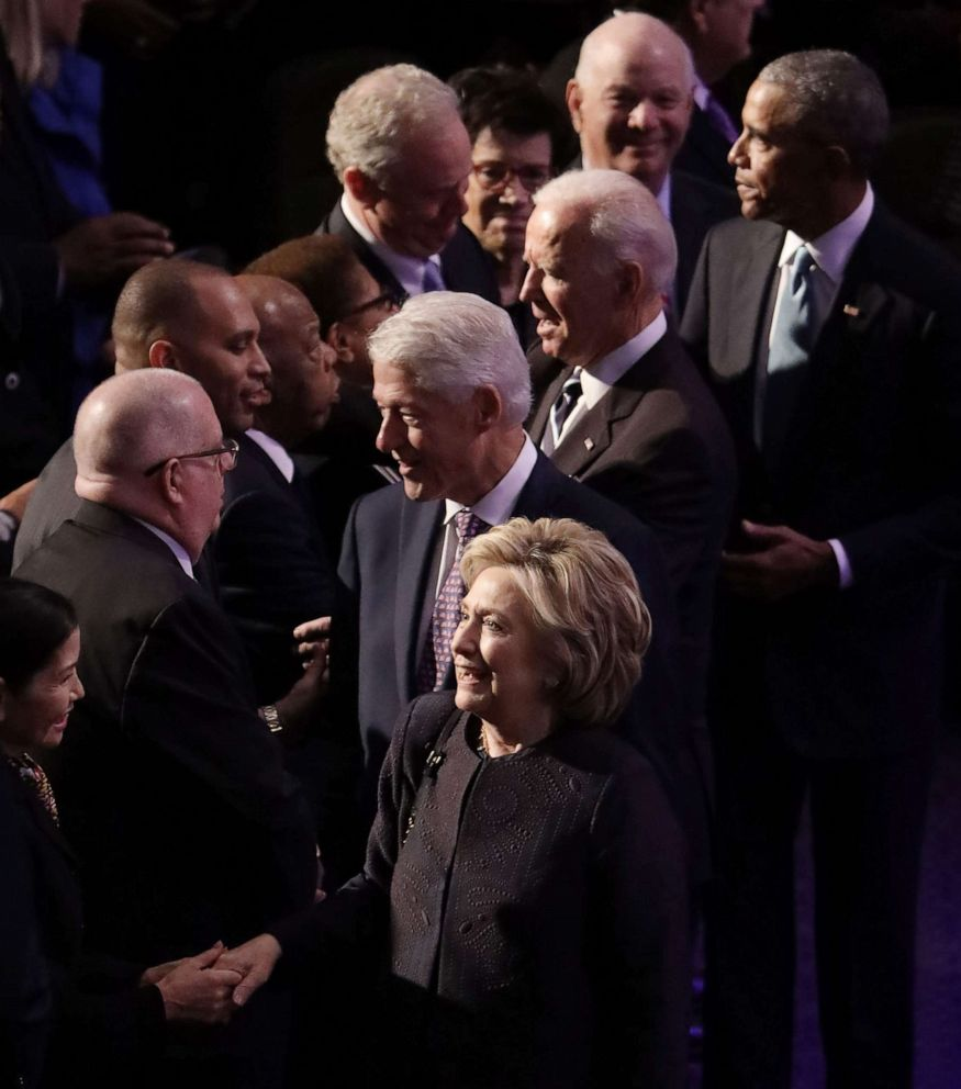 PHOTO: Former first lady Hillary Clinton, former President Bill Clinton, former Vice President Joe Biden and former President Barack Obama arrive at the funeral service for Rep. Elijah Cummings at New Psalmist Baptist Church, Oct. 25, 2019 in Baltimore.