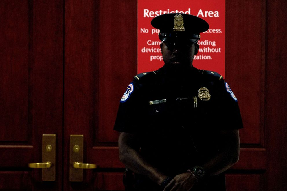 PHOTO: A Capitol Police officer stands at the entrance to a secure area during closed-door interviews with Kurt Volker, a former special envoy to Ukraine, at the Capitol in Washington, D.C., Oct. 3, 2019.