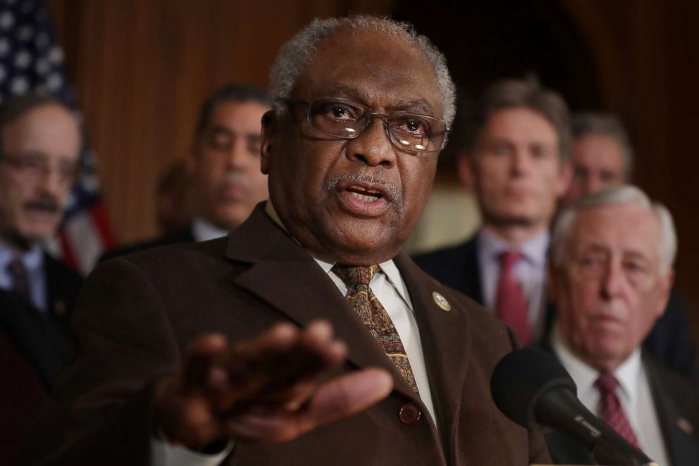 PHOTO: House Majority Whip James Clyburn (D-SC) joins fellow House Democrats for a news conference on the Privileged Resolution to Terminate President Donald Trumps emergency declaration Feb. 25, 2019, in Washington, D.C.