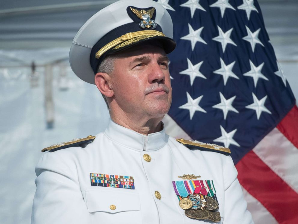 PHOTO: Admiral Karl Schultz speaks after becoming the Commandant of the U.S. Coast Guard during a Change of Command ceremony at Coast Guard Headquarters in Washington, June 1, 2018.