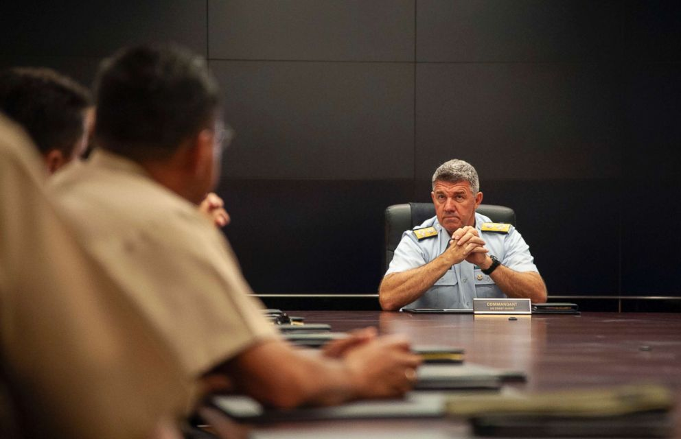PHOTO: Coast Guard Commandant Adm. Karl Schultz meets with partners from Joint Interagency Task Force South, a multiservice, multiagecy task force at Coast Guard Headquarters in Washington, D.C., Aug. 29, 2018.