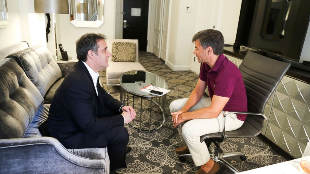 ABC News' George Stephanopoulos interviewing Michael Cohen, who was formerly an attorney for President Donald Trump.