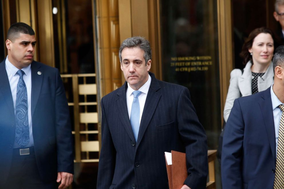 PHOTO: Michael Cohen, President Donald Trumps former personal attorney and fixer, exits federal court after his sentencing hearing, Dec. 12, 2018, in New York.