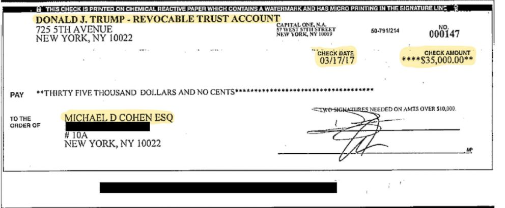 PHOTO: Michael Cohen plans to show this check he claims was signed by Donald Trump Jr. and Trump Organization CFO Allen Weisselberg on the elder Donald Trump's trust account in his House testimony, sources close to Cohen say.