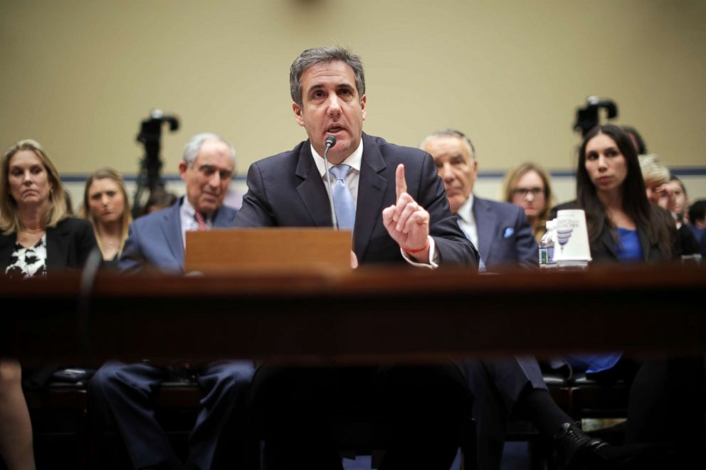 PHOTO: Michael Cohen, the former attorney, and fixer for President Donald Trump testifies before the House Oversight Committee on Capitol Hill, Feb. 27 2019, in Washington, D.C.
