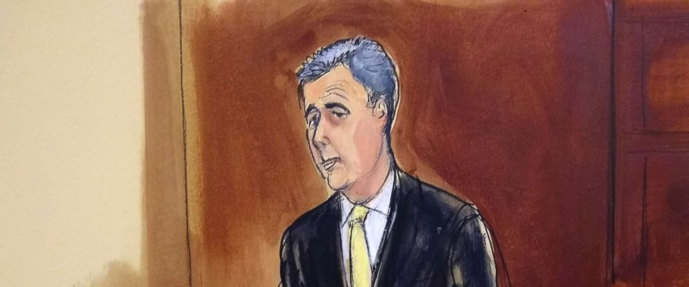 PHOTO: Michael Cohen stands to plead guilty at federal court in N.Y. Aug. 21, 2018.